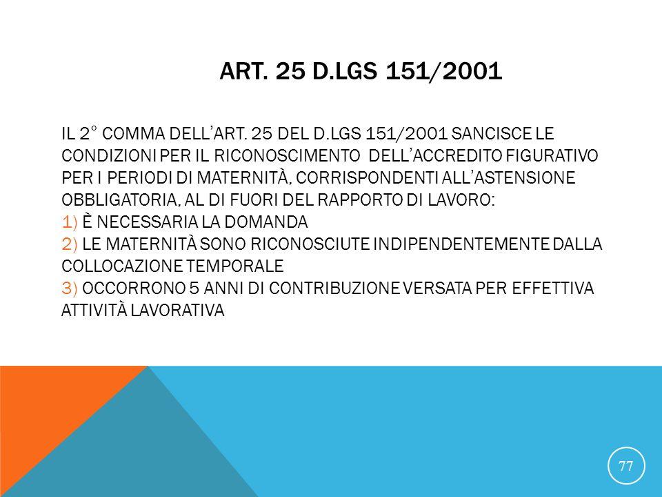 21/07/07 Art. 25 D.Lgs 151/2001.
