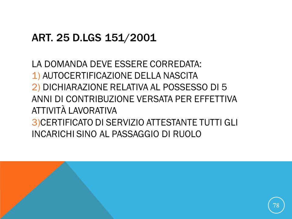 ART. 25 D.LGS 151/2001 LA DOMANDA DEVE ESSERE CORREDATA: 1) AUTOCERTIFICAZIONE DELLA NASCITA 2) DICHIARAZIONE RELATIVA AL POSSESSO DI 5 ANNI DI CONTRIBUZIONE VERSATA PER EFFETTIVA ATTIVITÀ LAVORATIVA 3)CERTIFICATO DI SERVIZIO ATTESTANTE TUTTI GLI INCARICHI SINO AL PASSAGGIO DI RUOLO
