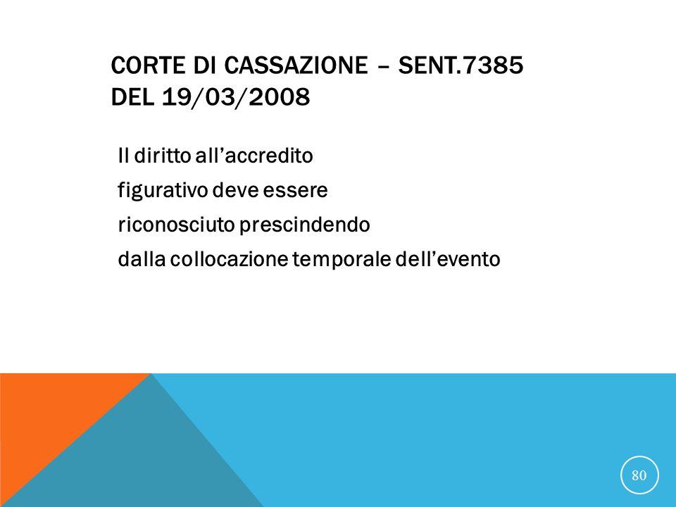 CORTE DI CASSAZIONE – SENT.7385 DEL 19/03/2008