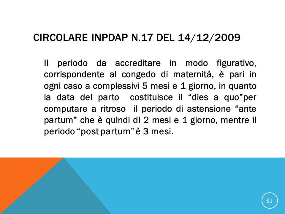 Circolare INPDAP n.17 del 14/12/2009
