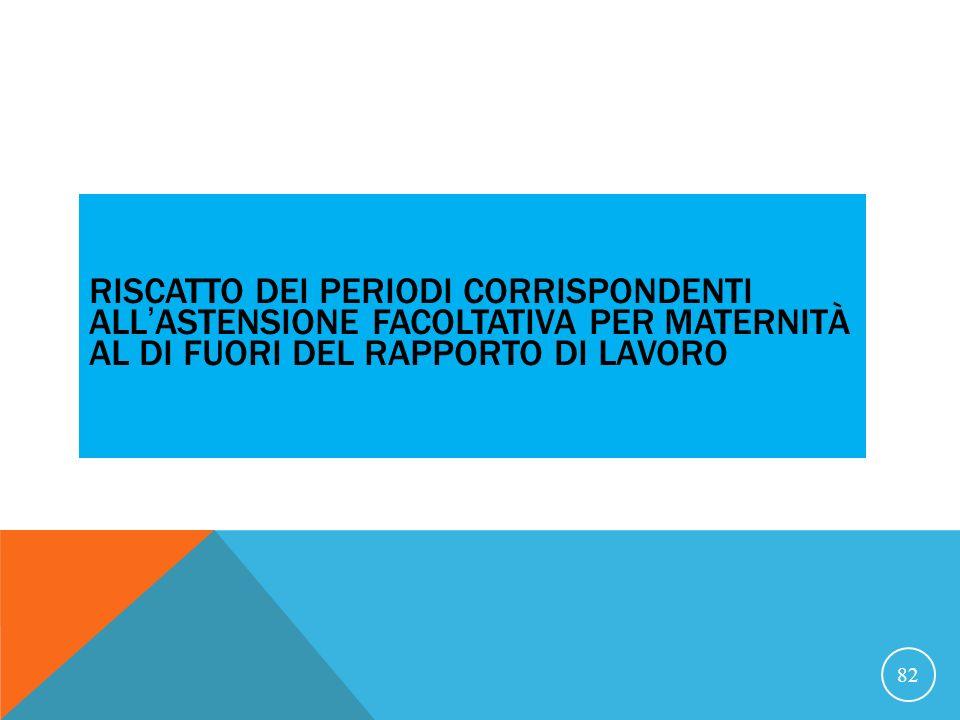 21/07/07 RISCATTO DEI PERIODI CORRISPONDENTI ALL'ASTENSIONE FACOLTATIVA PER MATERNITÀ AL DI FUORI DEL RAPPORTO DI LAVORO.