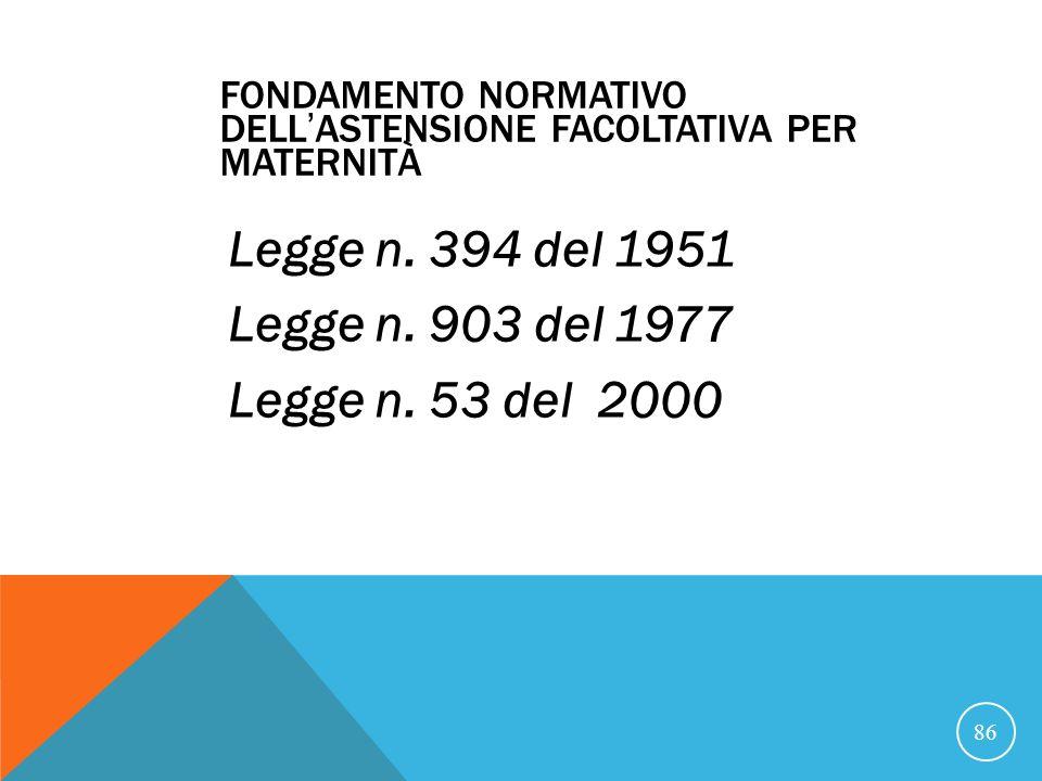 FONDAMENTO NORMATIVO DELL'ASTENSIONE FACOLTATIVA PER MATERNITÀ