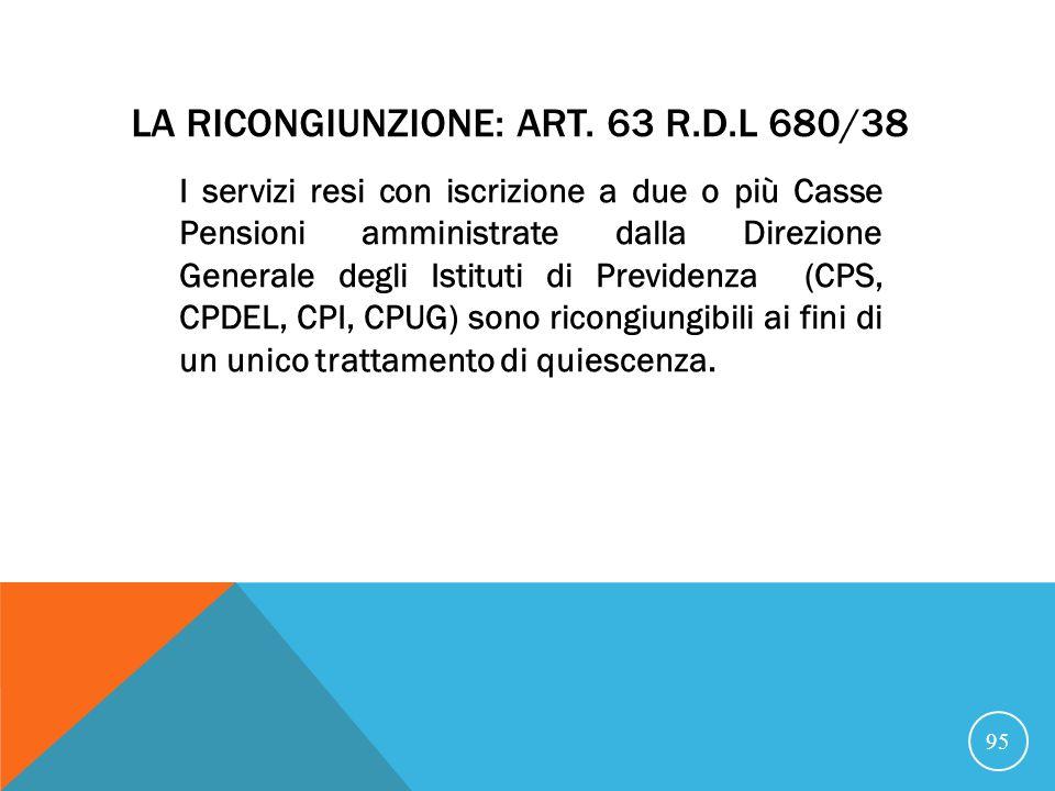 La ricongiunzione: art. 63 R.D.L 680/38