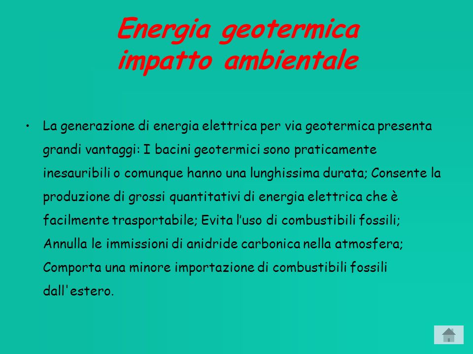Energia geotermica impatto ambientale