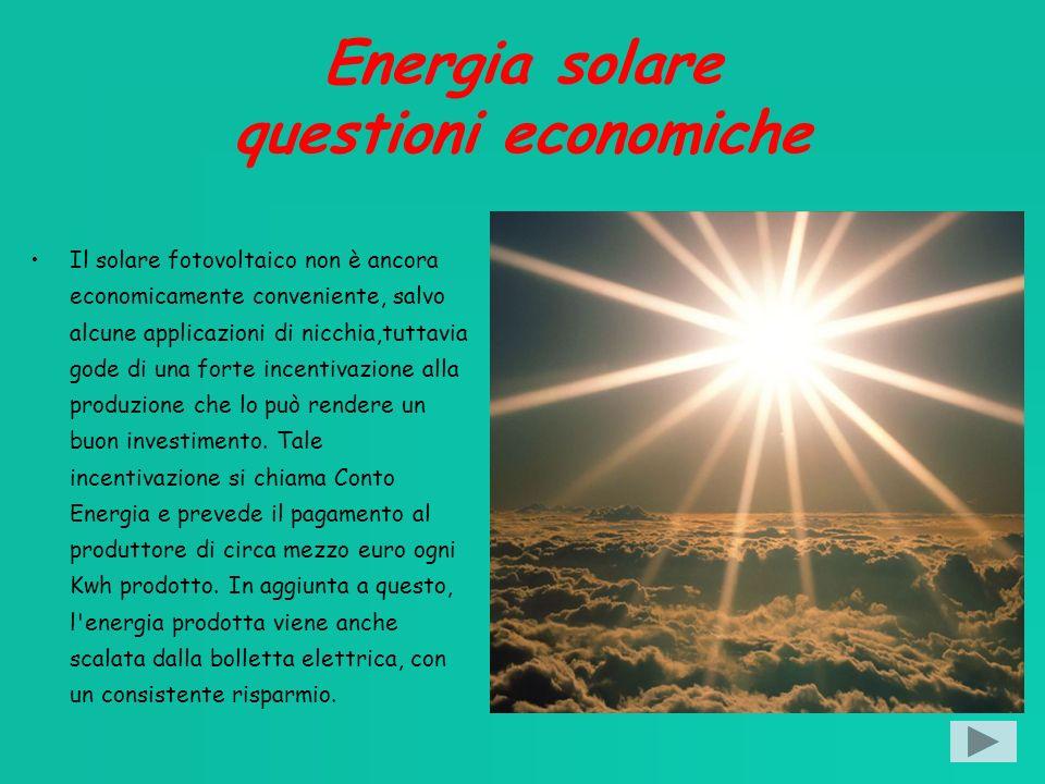Energia solare questioni economiche