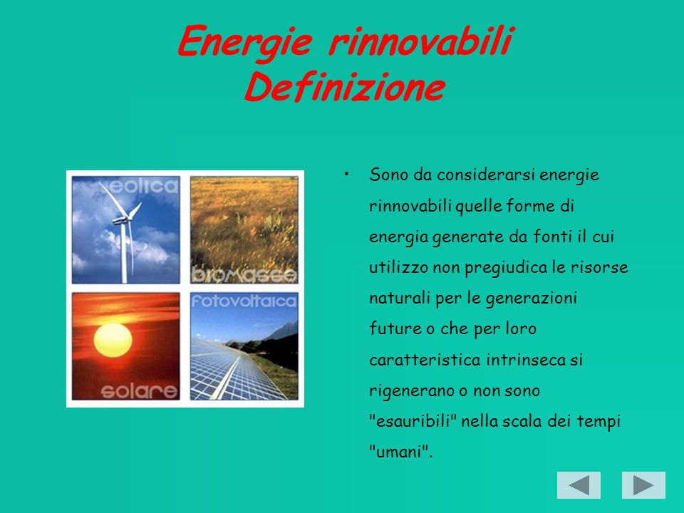 Energie rinnovabili Definizione