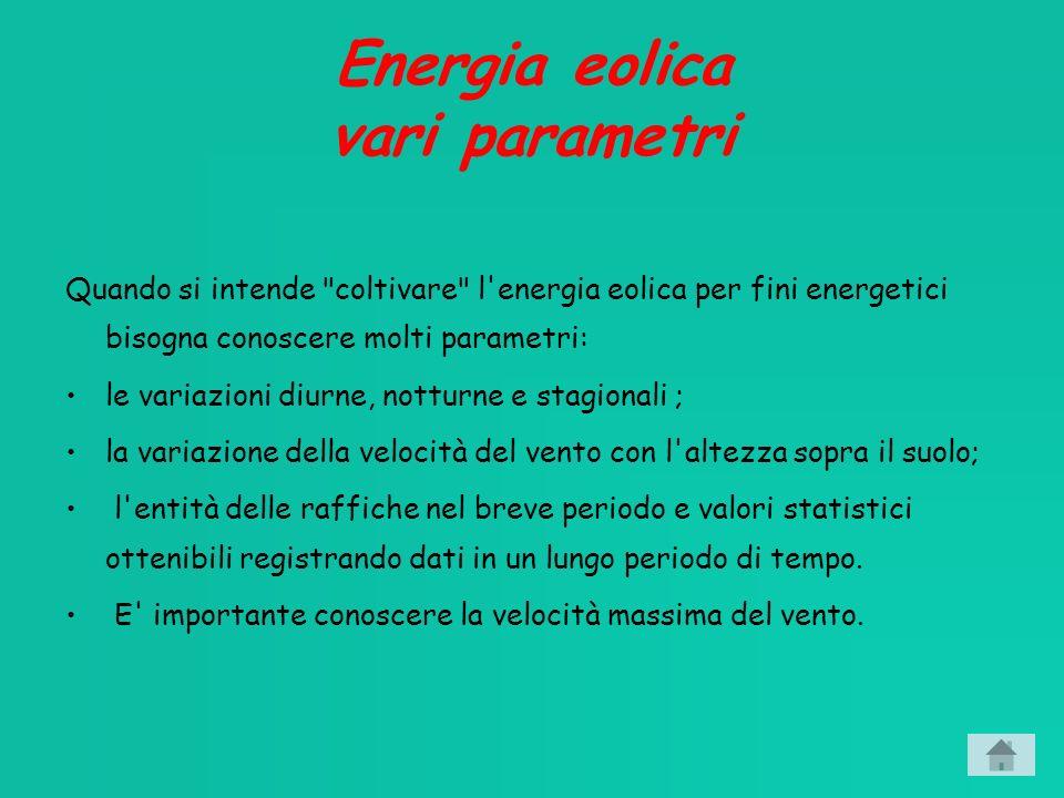 Energia eolica vari parametri