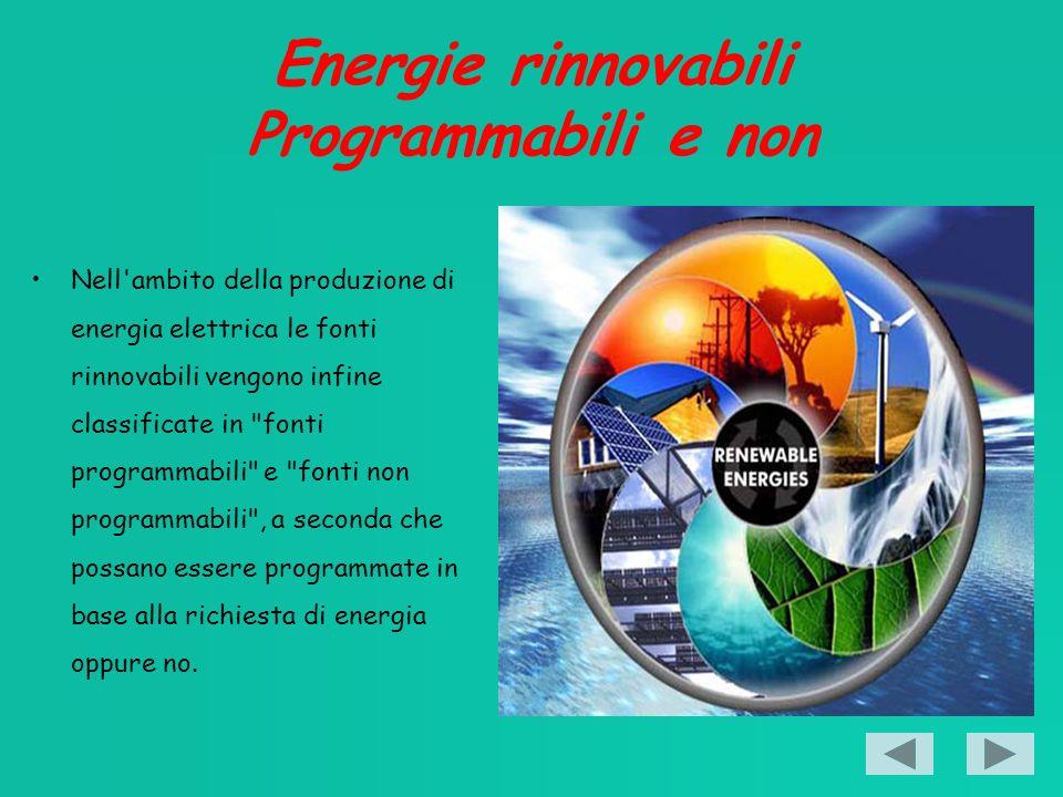 Energie rinnovabili Programmabili e non