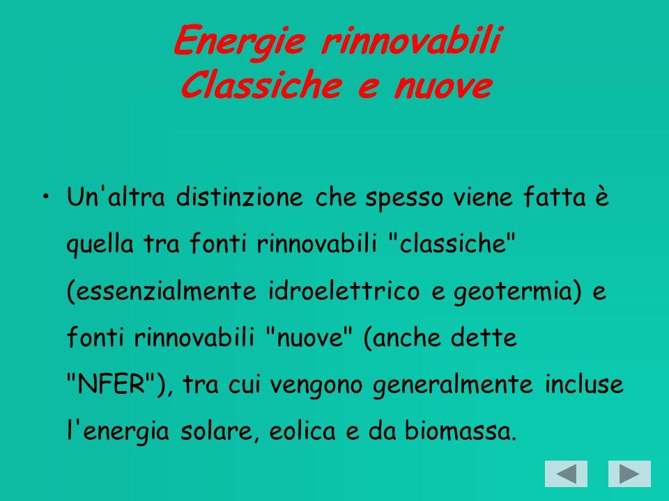 Energie rinnovabili Classiche e nuove