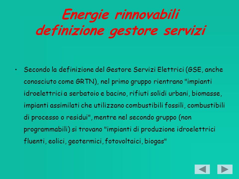 Energie rinnovabili definizione gestore servizi