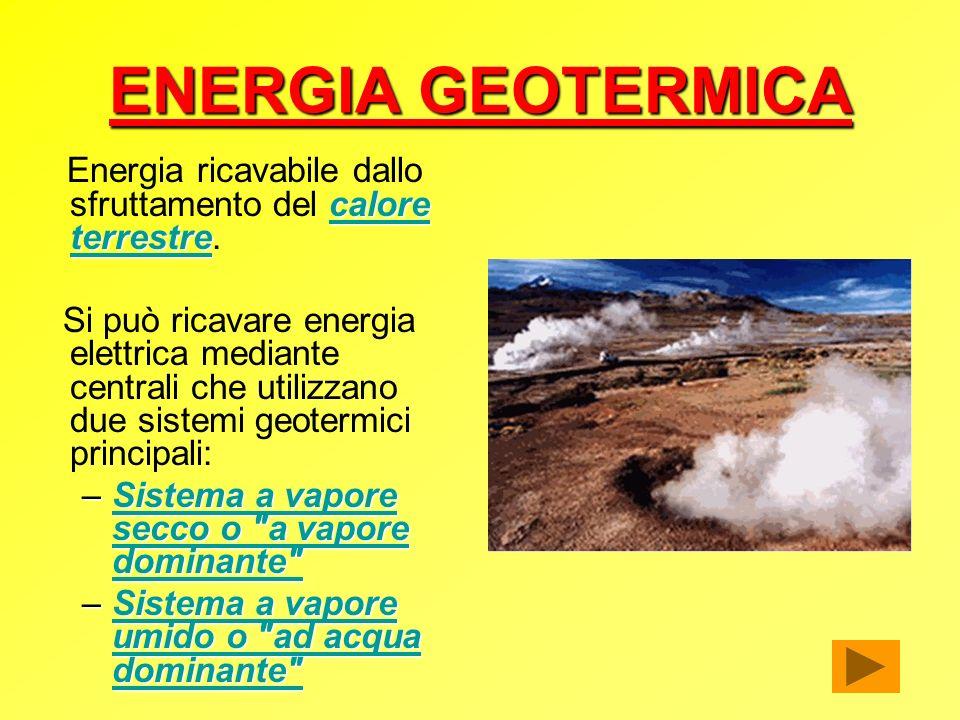 ENERGIA GEOTERMICA Energia ricavabile dallo sfruttamento del calore terrestre.