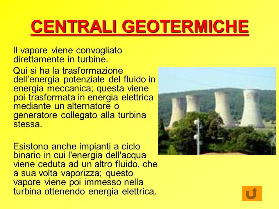 CENTRALI GEOTERMICHE Il vapore viene convogliato direttamente in turbine.