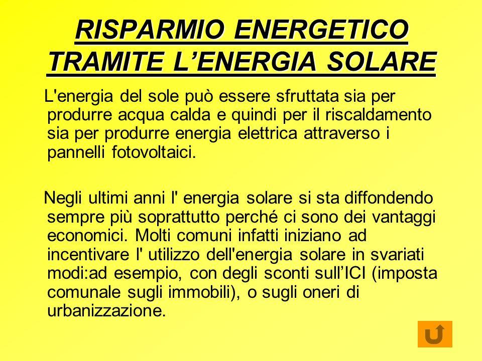 RISPARMIO ENERGETICO TRAMITE L'ENERGIA SOLARE