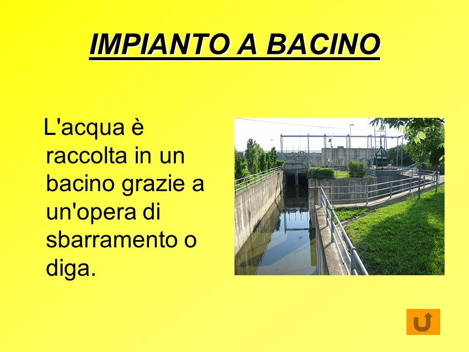 IMPIANTO A BACINO L acqua è raccolta in un bacino grazie a un opera di sbarramento o diga.