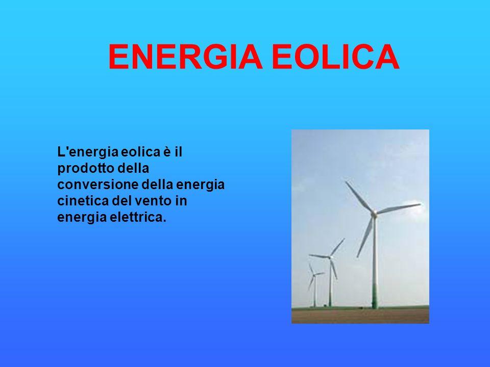 ENERGIA EOLICA L energia eolica è il prodotto della conversione della energia cinetica del vento in energia elettrica.