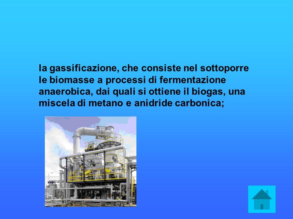 la gassificazione, che consiste nel sottoporre le biomasse a processi di fermentazione anaerobica, dai quali si ottiene il biogas, una miscela di metano e anidride carbonica;