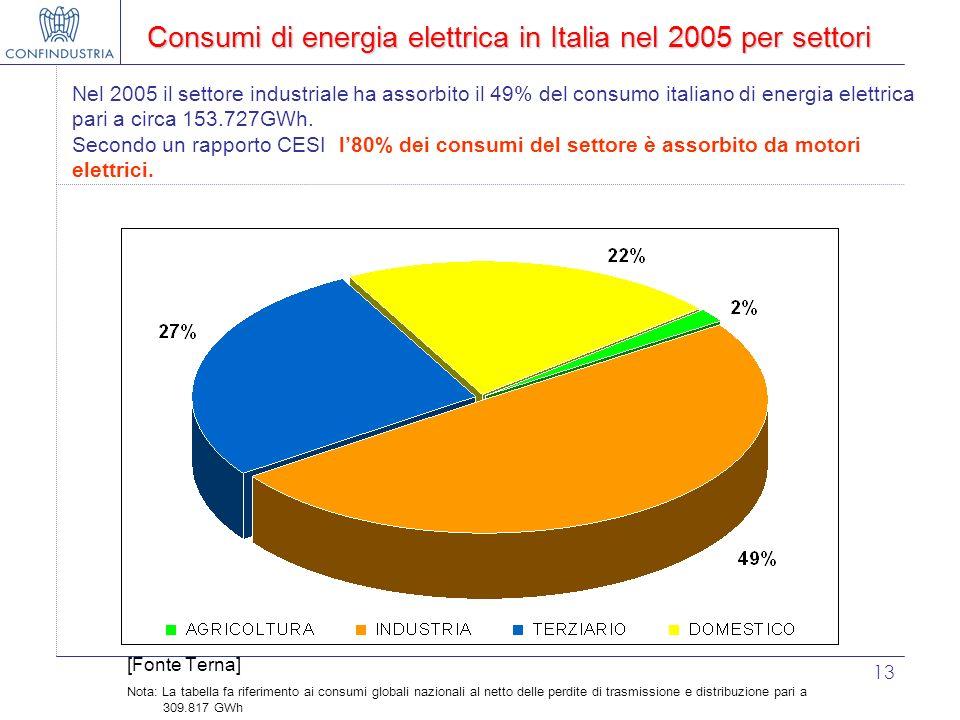 Consumi di energia elettrica in Italia nel 2005 per settori