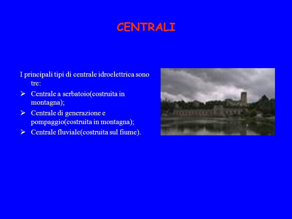 CENTRALI I principali tipi di centrale idroelettrica sono tre: