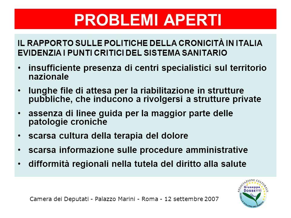 PROBLEMI APERTI IL RAPPORTO SULLE POLITICHE DELLA CRONICITÀ IN ITALIA. EVIDENZIA I PUNTI CRITICI DEL SISTEMA SANITARIO.