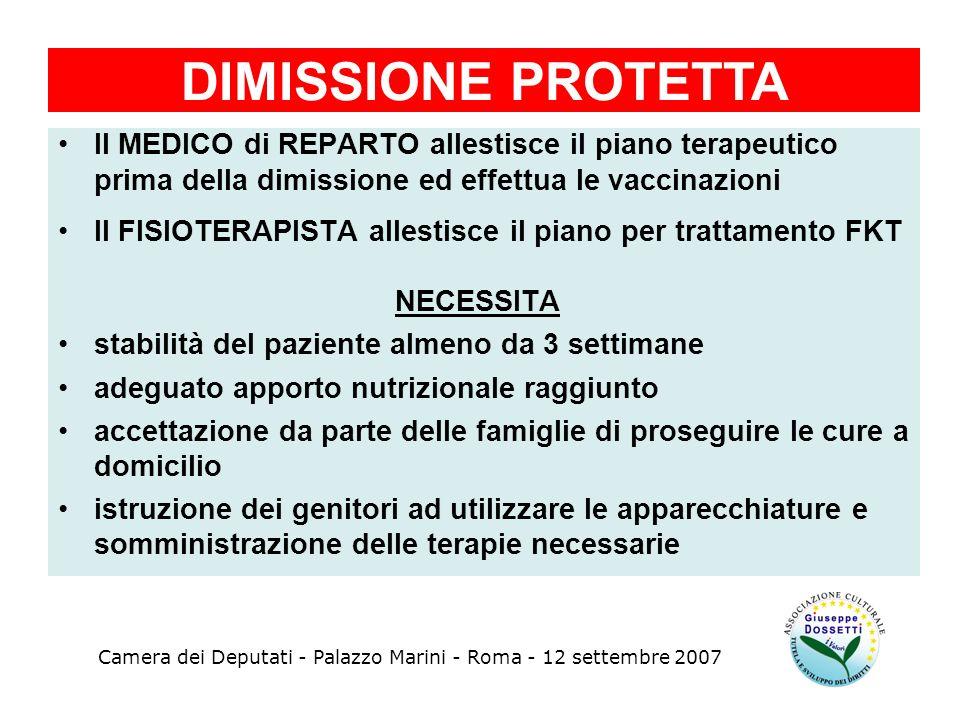 DIMISSIONE PROTETTA Il MEDICO di REPARTO allestisce il piano terapeutico. prima della dimissione ed effettua le vaccinazioni.