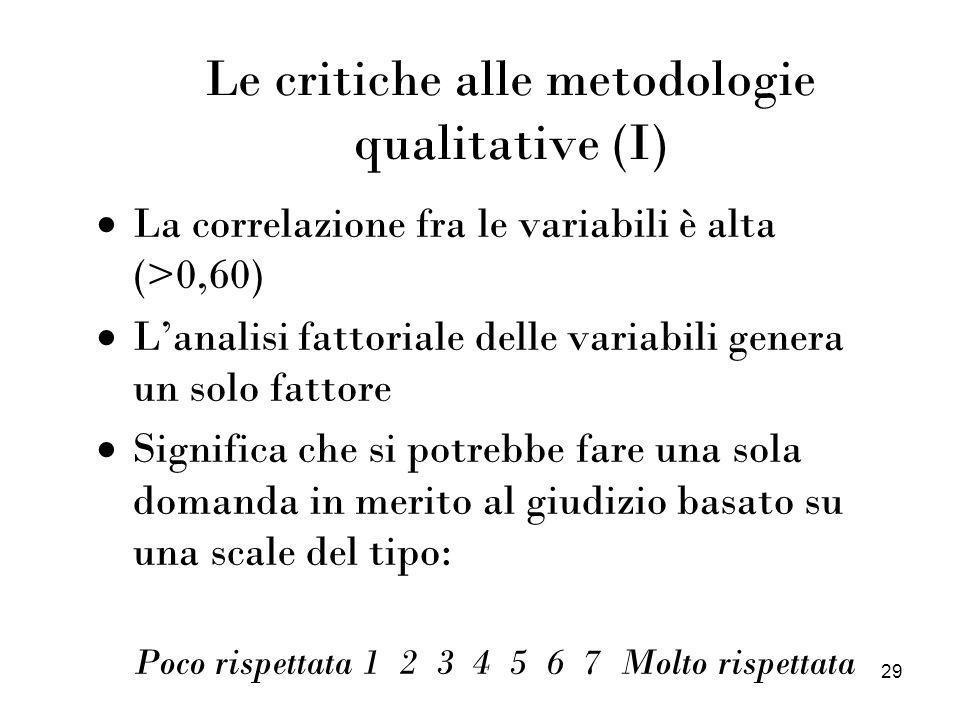 Le critiche alle metodologie qualitative (I)
