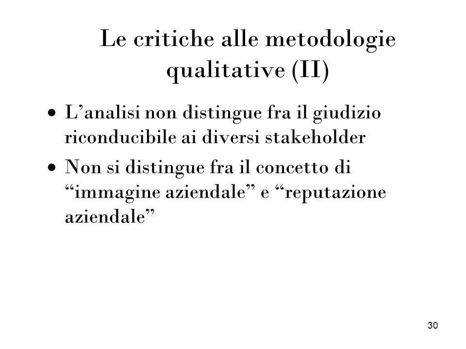 Le critiche alle metodologie qualitative (II)