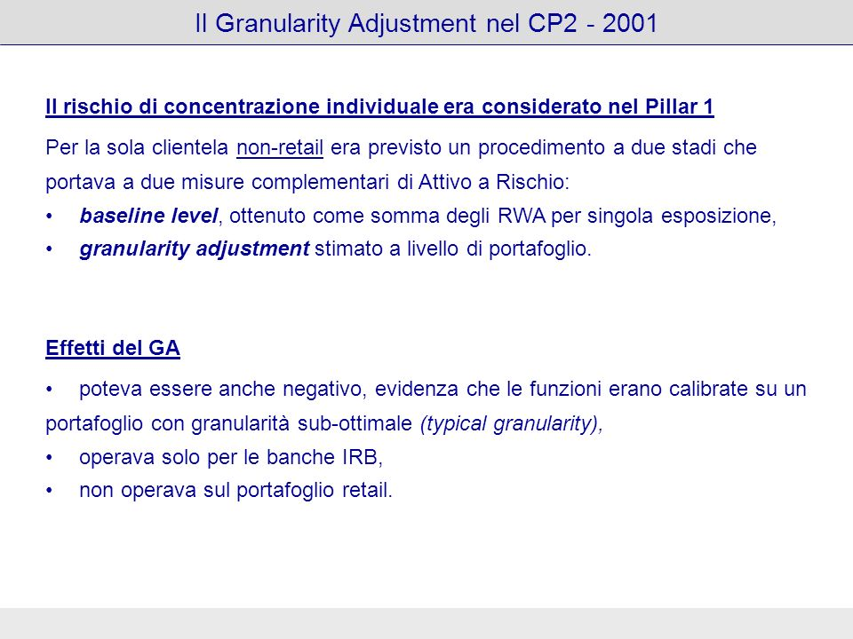 Il Granularity Adjustment nel CP2 - 2001