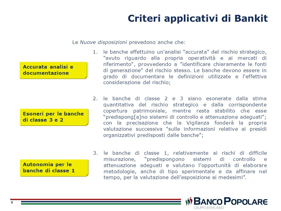 Criteri applicativi di Bankit