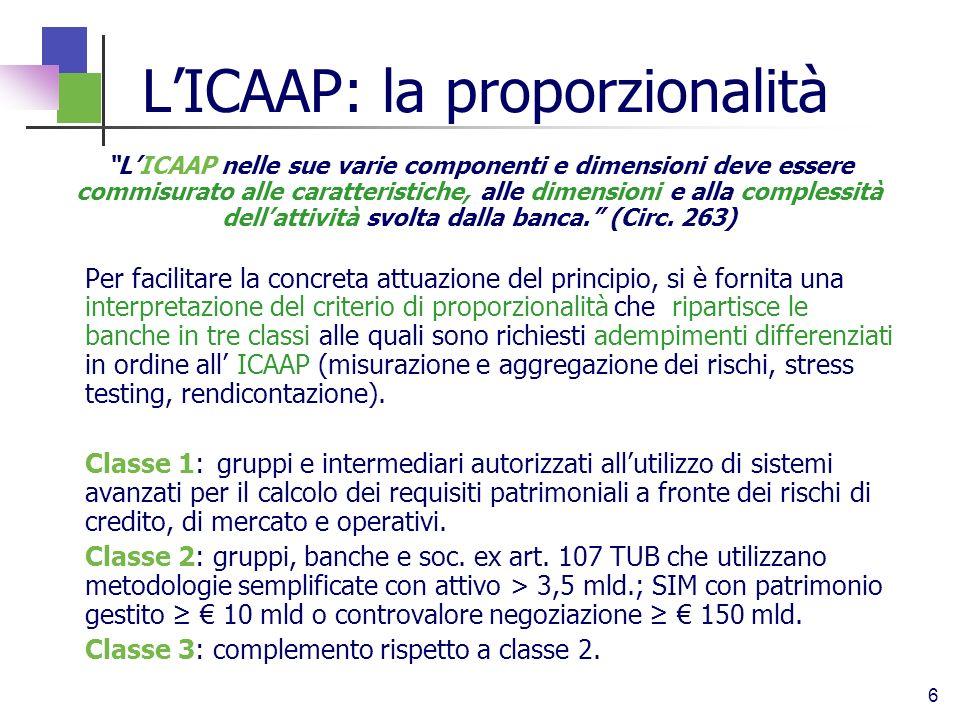 L'ICAAP: la proporzionalità