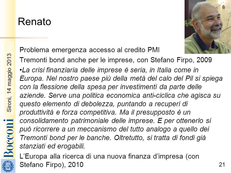 Renato Problema emergenza accesso al credito PMI