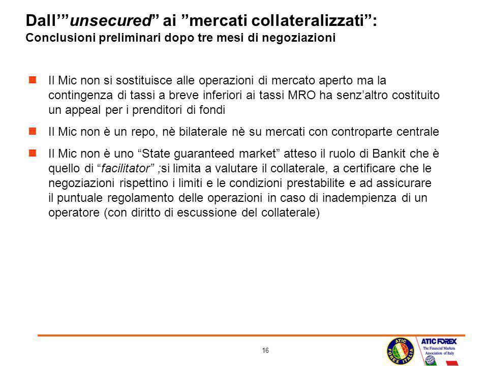 Dall' unsecured ai mercati collateralizzati : Conclusioni preliminari dopo tre mesi di negoziazioni