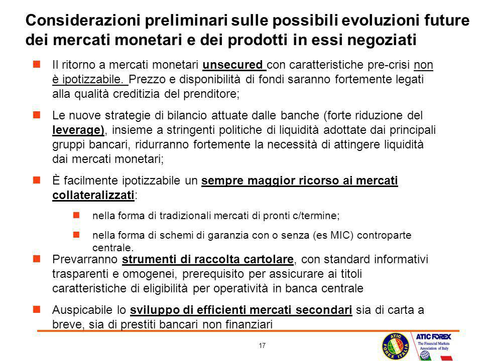 Considerazioni preliminari sulle possibili evoluzioni future dei mercati monetari e dei prodotti in essi negoziati