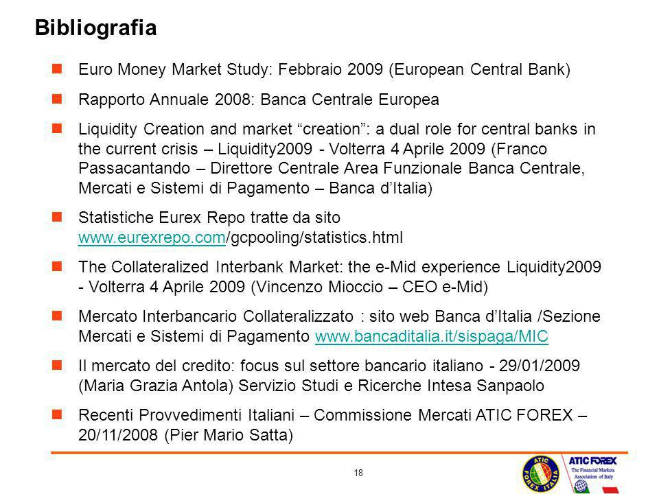 Bibliografia Euro Money Market Study: Febbraio 2009 (European Central Bank) Rapporto Annuale 2008: Banca Centrale Europea.