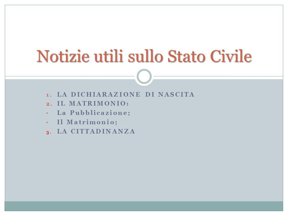 Notizie utili sullo Stato Civile