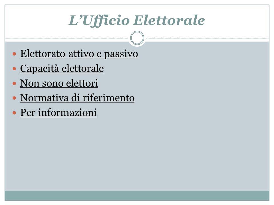 L'Ufficio Elettorale Elettorato attivo e passivo Capacità elettorale