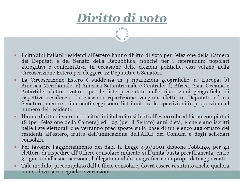 L ufficio elettorale elettorato attivo e passivo capacit for Elenco deputati italiani