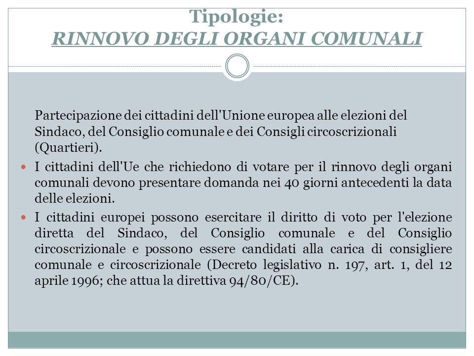 Tipologie: RINNOVO DEGLI ORGANI COMUNALI