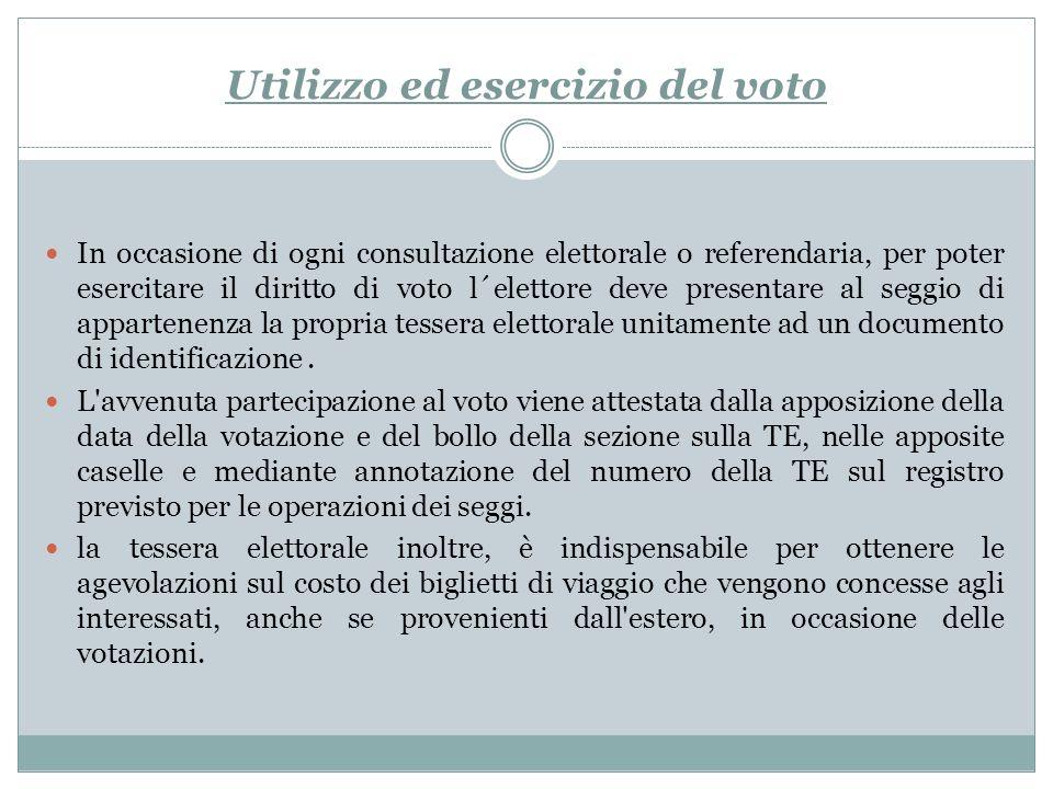 Utilizzo ed esercizio del voto