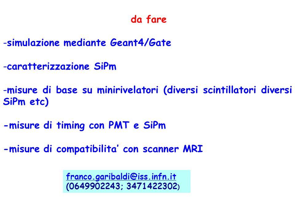 simulazione mediante Geant4/Gate caratterizzazione SiPm