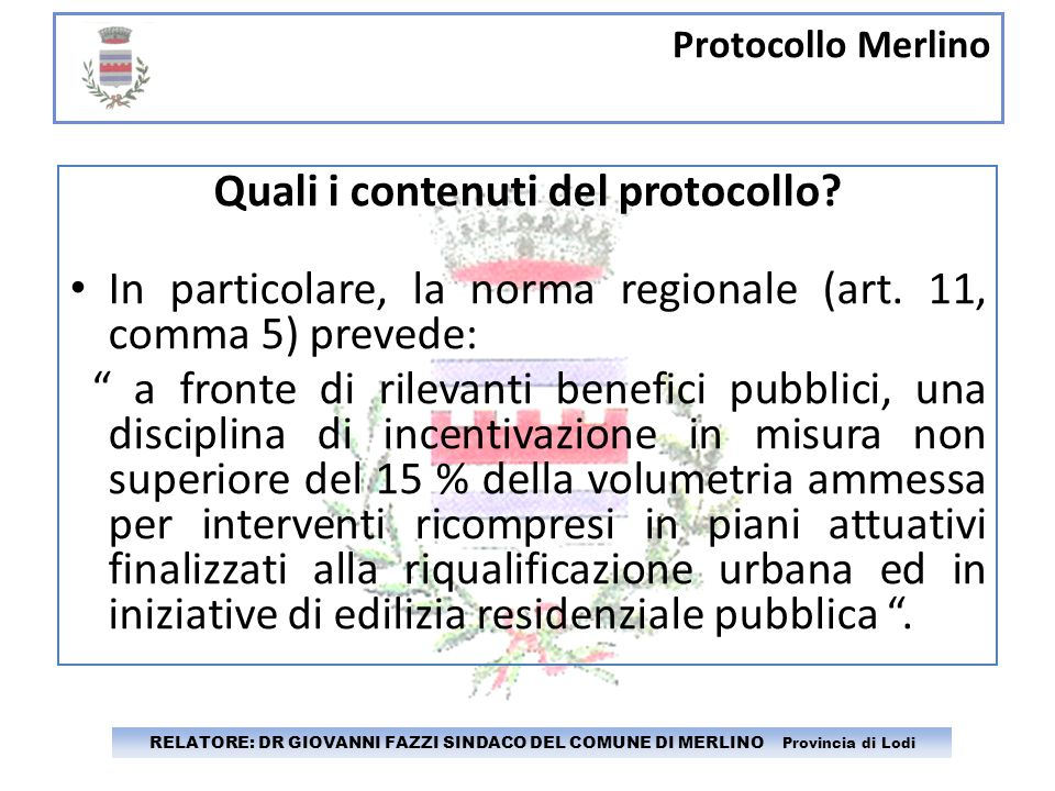Quali i contenuti del protocollo