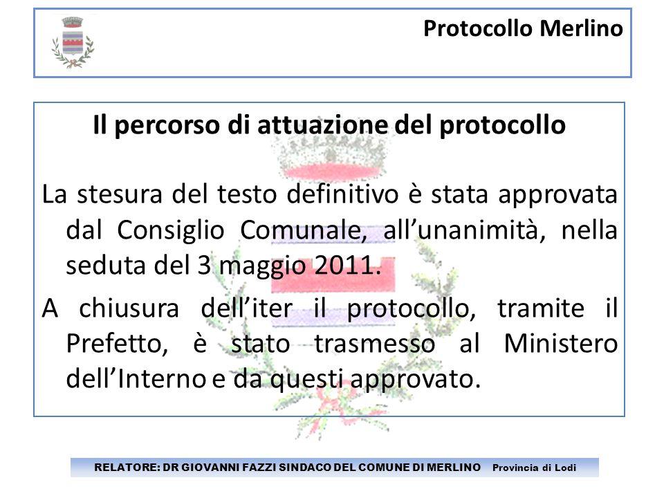 Il percorso di attuazione del protocollo