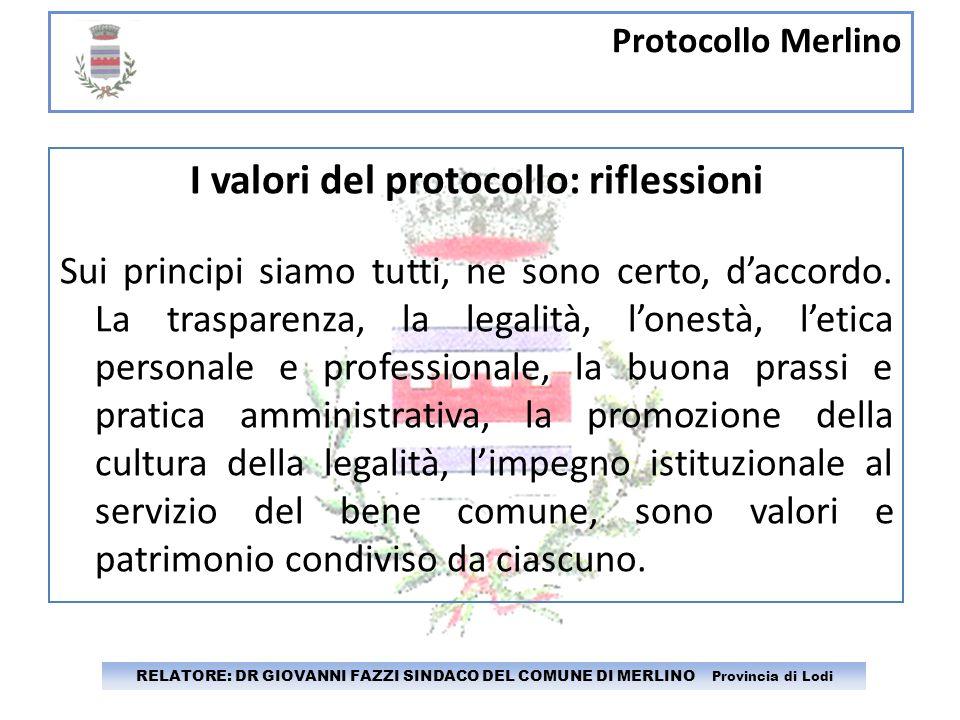 I valori del protocollo: riflessioni