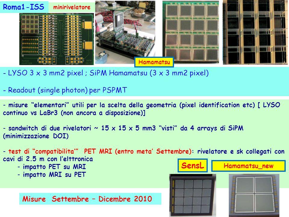 Roma1-ISS minirivelatore. Hamamatsu. - LYSO 3 x 3 mm2 pixel ; SiPM Hamamatsu (3 x 3 mm2 pixel) - Readout (single photon) per PSPMT.