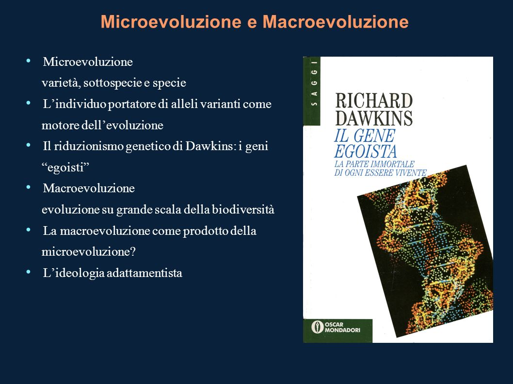 Microevoluzione e Macroevoluzione