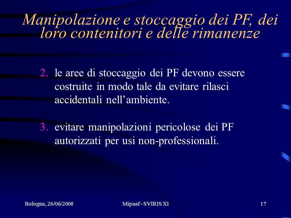 Manipolazione e stoccaggio dei PF, dei loro contenitori e delle rimanenze