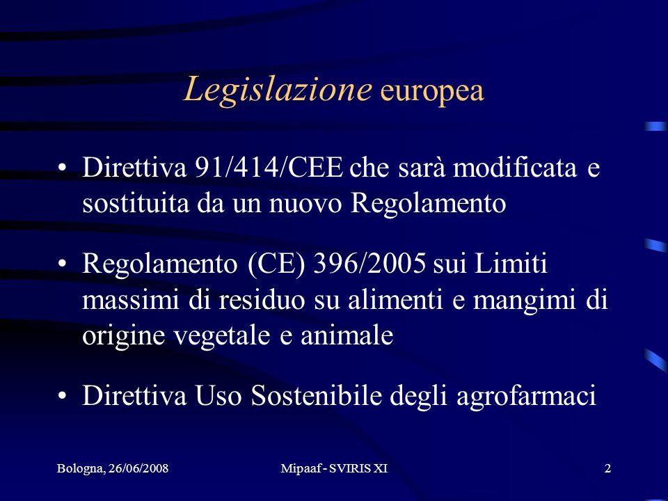 Legislazione europea Direttiva 91/414/CEE che sarà modificata e sostituita da un nuovo Regolamento.