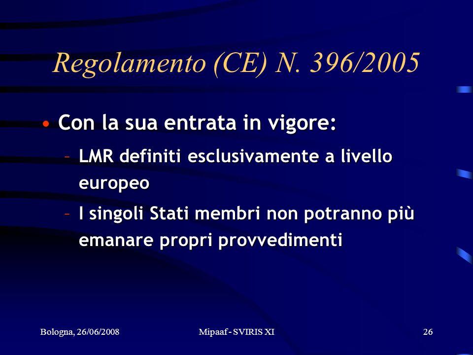 Regolamento (CE) N. 396/2005 Con la sua entrata in vigore: