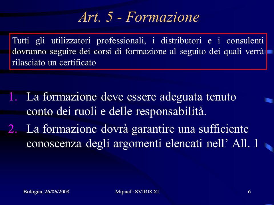 Art. 5 - Formazione