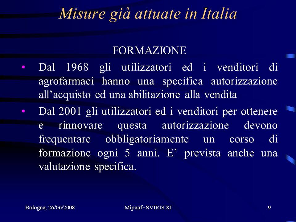 Misure già attuate in Italia