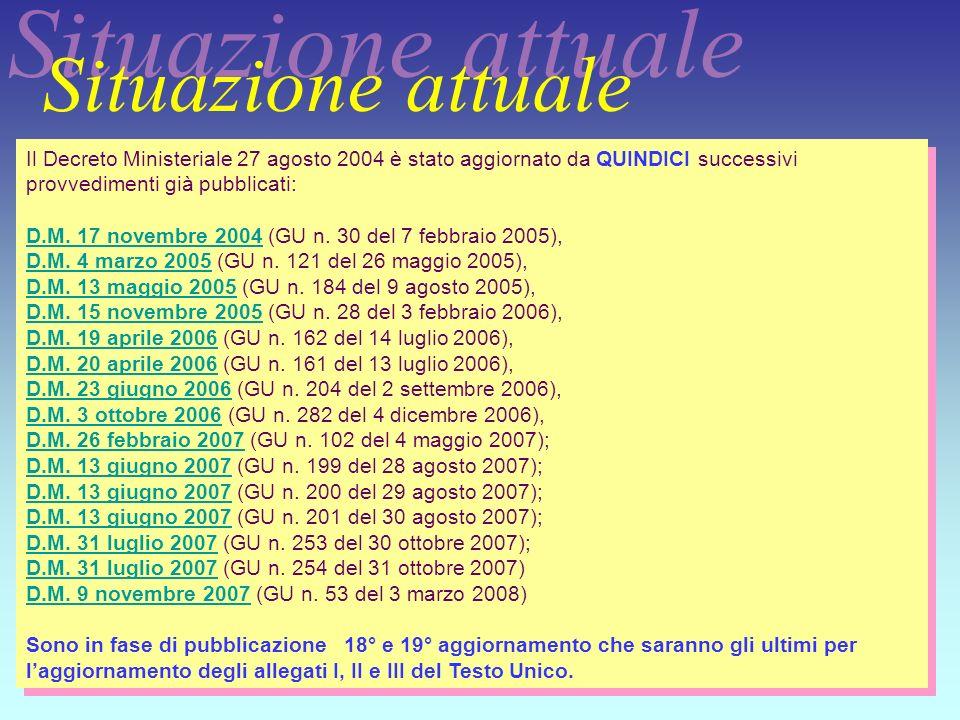 Situazione attuale Il Decreto Ministeriale 27 agosto 2004 è stato aggiornato da QUINDICI successivi provvedimenti già pubblicati:
